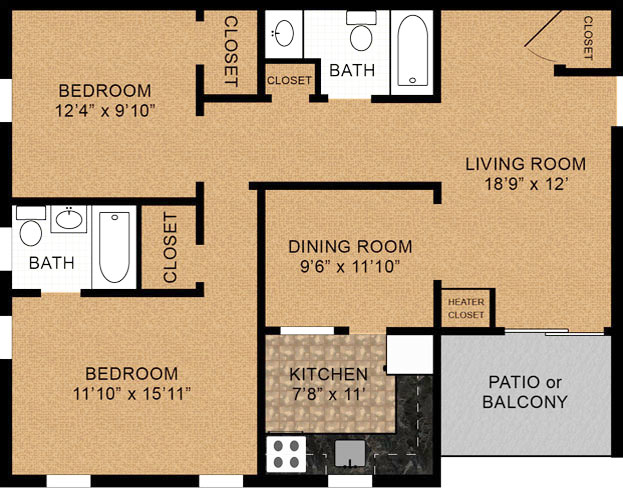 2 Bedroom Floorplan 1033 Square Feet